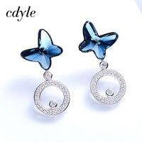 Cdyle Crystals From Swarovski Stud Earrings Women Earring Butterfly Shaped S925 Sterling Silver Jewelry Austrian Rhinestone