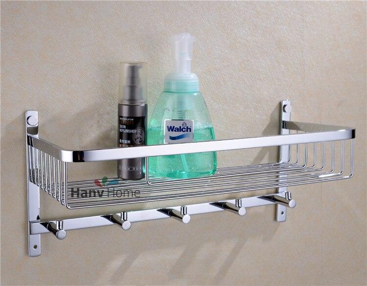 Chrome Stainless Steel Shelf With Hook Bracket Shelves Golden Basket Bathroom Shower Storage Accessories