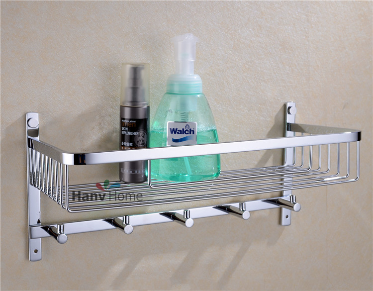 цена на Chrome Stainless Steel Shelf  with Hook Bracket Shelves  Golden basket bathroom shower storage  Bathroom Accessories