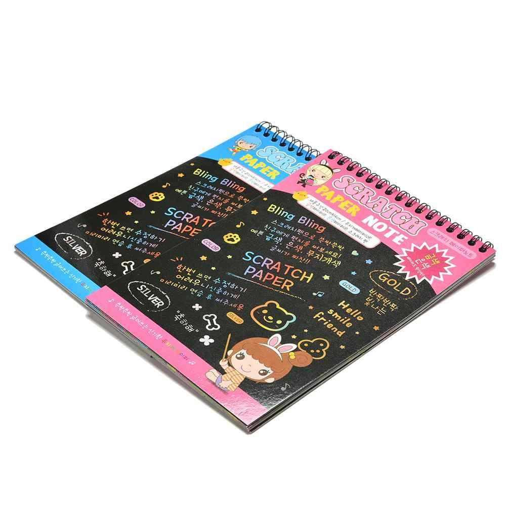 20cm * 14 centimetri Divertente Disegno Libro Scratch Graffiti Magia Nota Schizzo Nero Libri di Cartone Per I Bambini Giocattolo Per Bambini scuola Forniture