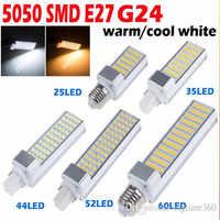 5 W 7 W 9 W 12 W 15 W G24 llevó la luz de bulbo E27 bombilla LED lámpara de iluminación SMD5050 AC85-265V Bombillas LED Horizontal de 180 grados LED Bombilla