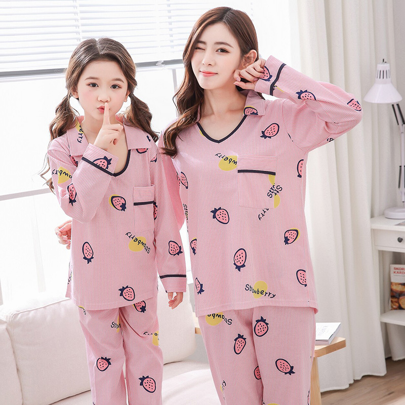 Family Matching Pajamas Sets Mother Daughter Fits Strawberry Print Long Sleeve Cotton Family Matching Sleepwear Nightwear ...