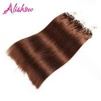 Alishow Loops Micro Rings Remy hair extensions Kralen Getipt Human Hair Extensions Straight 100 gram Hoge Kwaliteit 1B Zwart Bruin