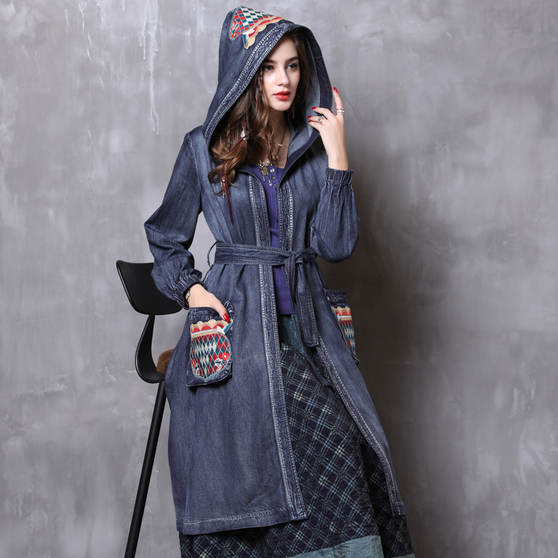 Vintage Winter   Trench   Coat 2018 Boho New Denim Casual Coat Women Embroidery Hooded Bleted Coat Female Autumn Casaco Feminino