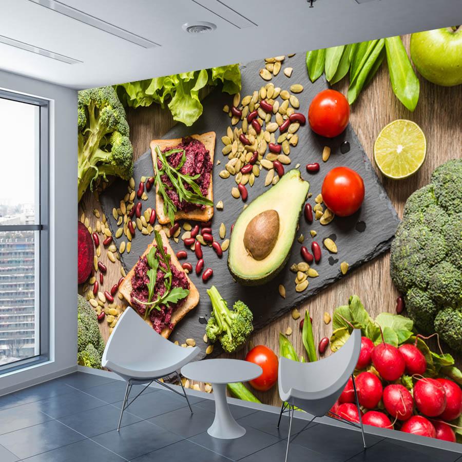US $13 2 OFF ShineHome 3D Wallpaper Makanan Sayuran Buah Dinding Mural Kertas Gambar Wallpaper Untuk 3 D Restoran Ruang Hidup Dinding Kamar