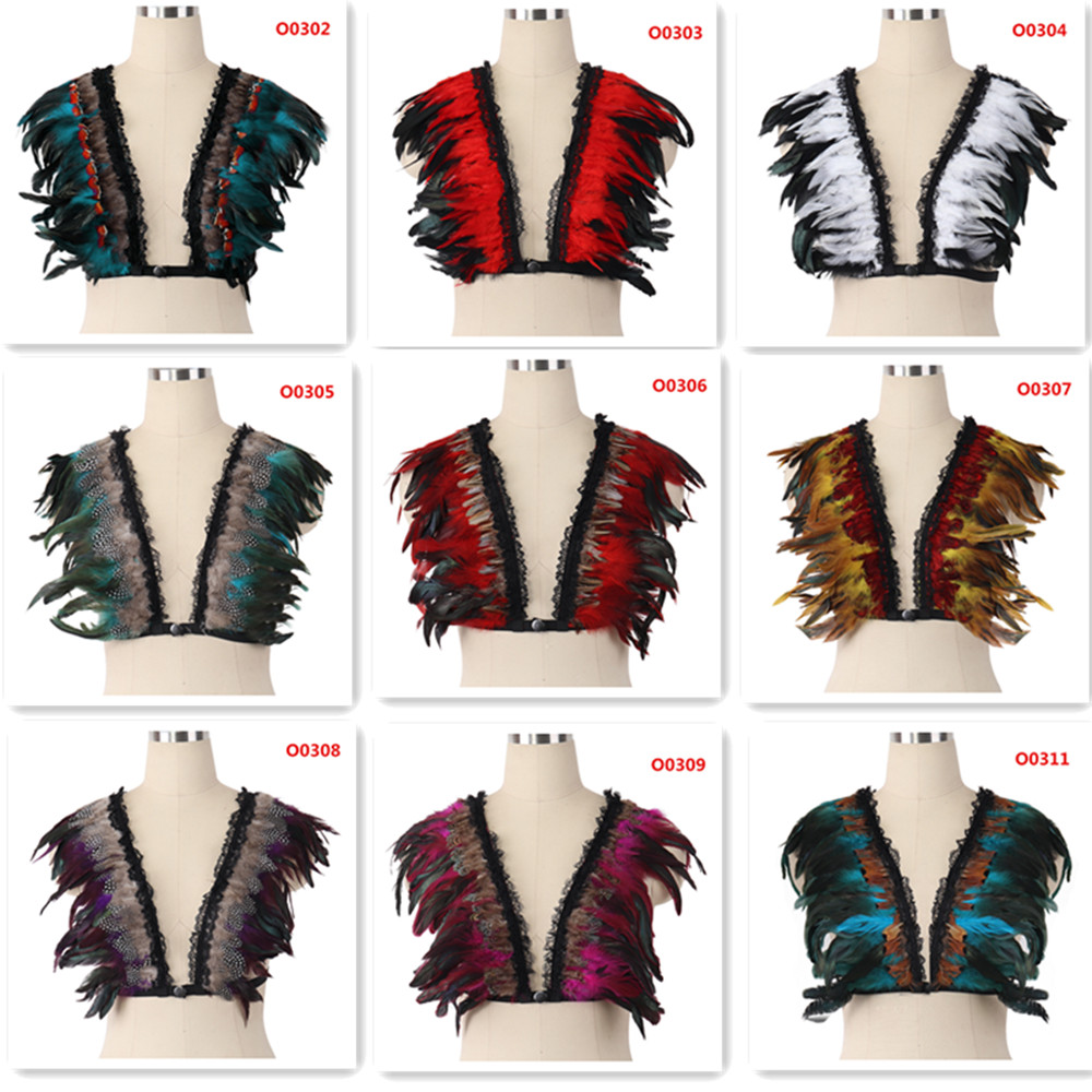 Colors Varied Wings Epaulet Bondage Shoulder Burning Festival Body Harness Dance Orgy Featherband Goth Costume image