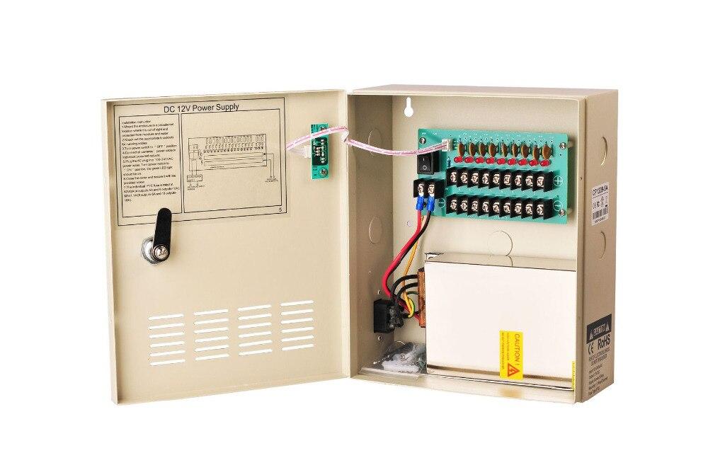 CCTV Camera Power Supply DC 12V 5A 9 Channels 60W Boxed Distribution AC90V-264V Input 60W
