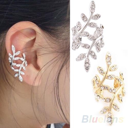 Nouveau 2014 mode féminine Punk Rock rétro boucles d'oreilles cristal feuille bijou d'oreille chaîne Clip oreille Stud pour femmes 1O1U