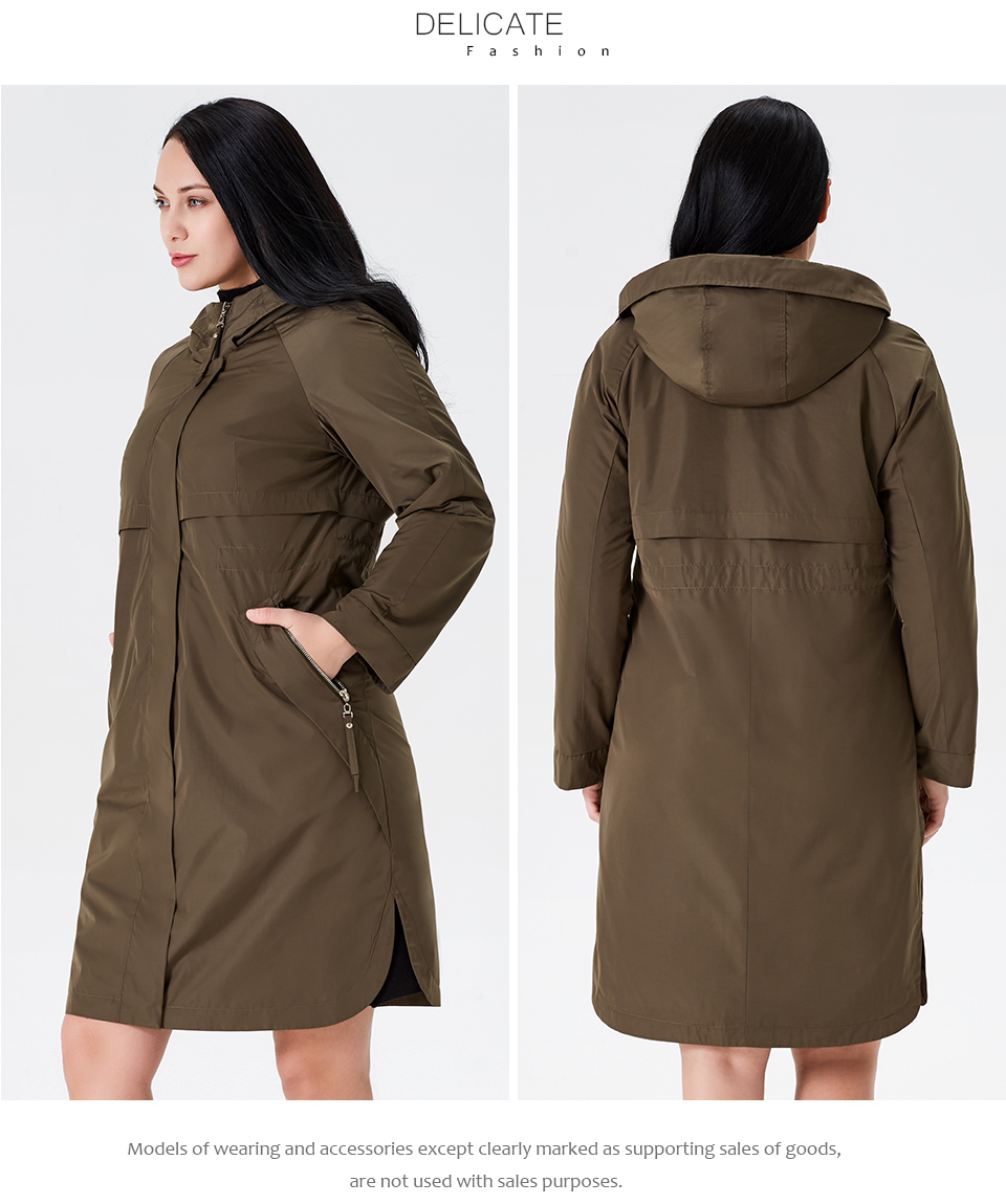 19 Trench Coat Spring And Autumn Women Causal coat Long Sleeve With Hood Solid color female moda muje High Quality new AS-9046 13