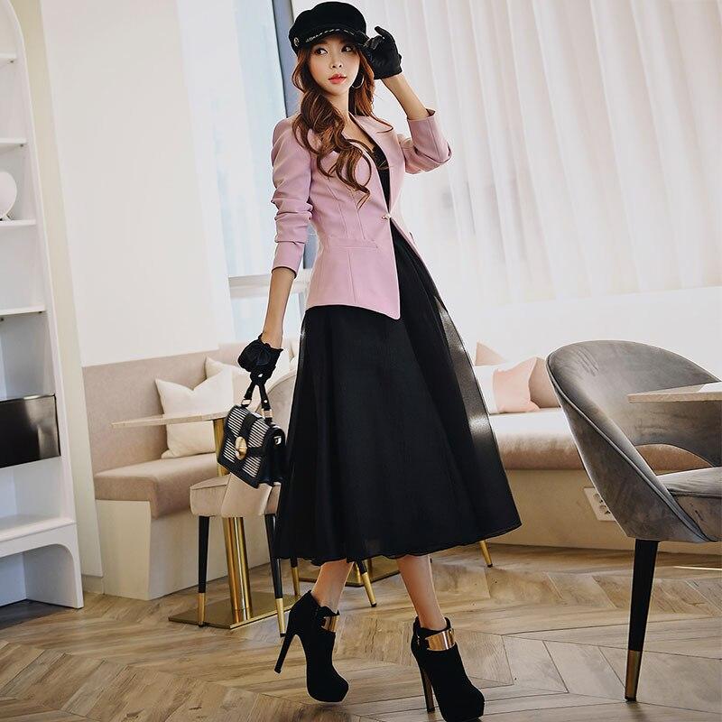 Dabuwawa Printemps office Lady Élégant Blazers Femmes 2019 Nouveau Bouton Unique Slim Vintage combinaison avec short Outwear DN1AJK007 Rose Noir