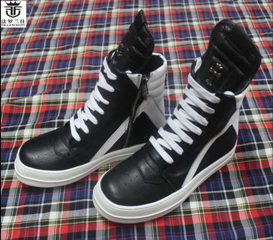 FR. LANCELOT 2018 homens flats black & white botas high top de Couro real botas lace up ankle shoes zip up high end homens botas