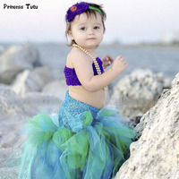 Handmade Party Girls Tutu Dress Kids Halloween Cosplay Mermaid Ariel Tulle Dress With Top Baby Girl Ball Gown Princess Costume