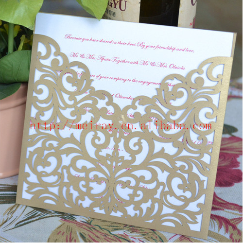 Wholesale And Retail Laser Cut Champagne Wedding Invitation Card Pocket  Royal Cards Design(China (