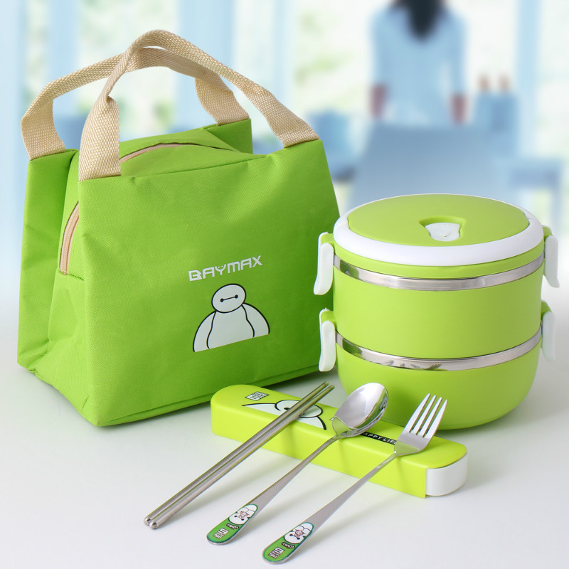 Two layers style insulation bucket lunch box stainless steel insulation double layer capacity lunch box