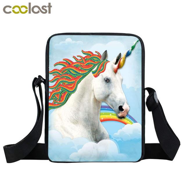 a80757b541 placeholder Anime Unicorn   Rainbow Pony Messenger Bag Cartoon Crazy Horse  Children Shoulder Bag Kids Book Bags