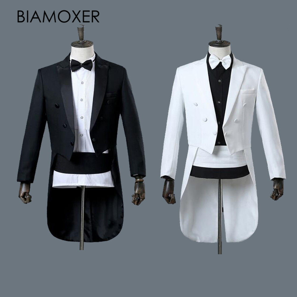 Biamoxer Renaissance Mens Tuxedo Suit Wedding Party White Black Jacket Pants Full Set Cosplay Costume