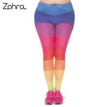 Large Size Leggings Triangles Rainbow Printed High Waist Leggins