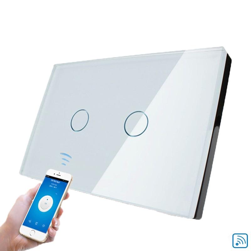 Cnskou Fabricant Wifi Tactile Interrupteur, LED Lumière Mur Maison Intelligente Télécommande NOUS Passer, 2 Gang 1 Façon Panneau De Verre de Luxe