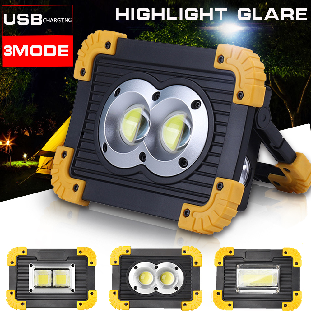 100W Led Portable Spotlight 30000lm Super Bright Led Work Light Rechargeable for Outdoor Camping Lampe Led Flashlight by 2*18650