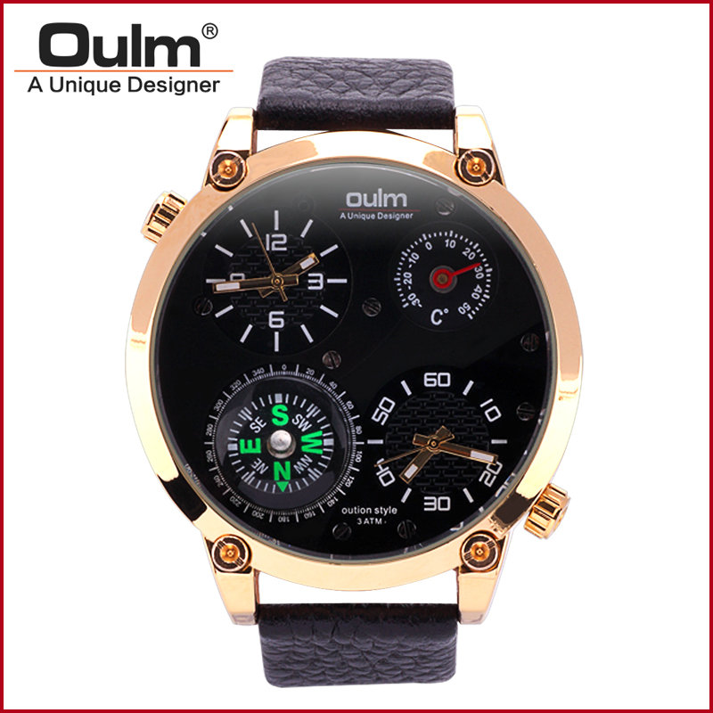 2016 New Men Watch HP3707 Fashion Casual Style Quartz Wristwatches Oulm Brand Factory Outlet Watches Alloy
