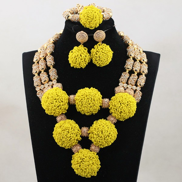 Exclusive Green Beaded Statement Necklace Set for Bride New Wedding Necklace Earrings Set Christmas Jewelry WD916