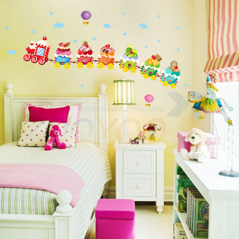 Ice Cream Train For Kids Room Wall Decal Zooyoo769 Decorative Adesivo De Parede Removable Pvc Wall