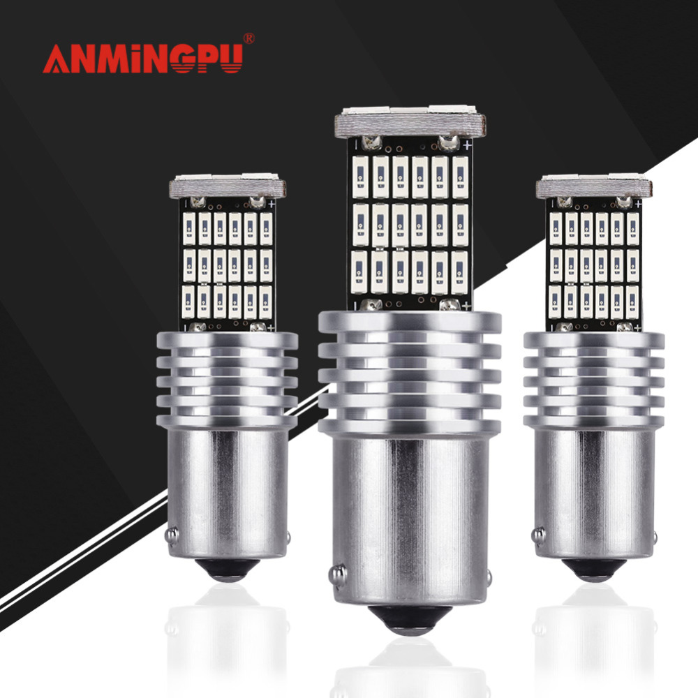 ANMINGPU 2x Signal Lamp 12V Led P21W Ba15s Led 1156 PY21W Bau15s Canbus Error Free Auto Turn Signal Reverse Brake Tail Light R5W цена и фото