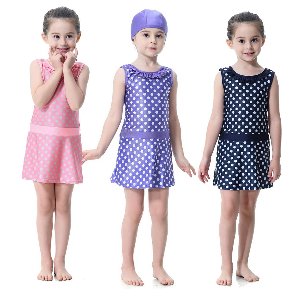 Muslim Girls 2-Piece Full Cover Love Print Conservative Hijab Swimsuit