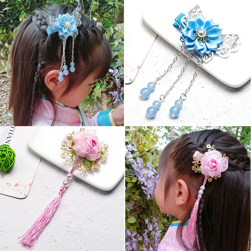 Noiva Limited 2018 Baby Hair Pins Chinese Style Retro Fringe Children Little Girl Flower Headdress Card Decoration chain