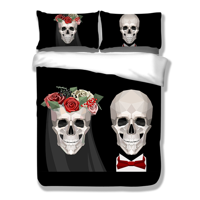 Wongsbedding Skull Wedding Black Bedding Set Cotton Blend Duvet Cover Twin Full Queen King Size 3PCS Bedclothes
