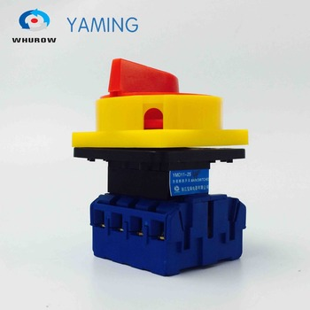 цена на Isolator switch 4p 25A yellow and red padlock disconnect switch high voltage on-off 2 position changeover rotary switch