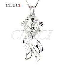 CLUCI Newest 925 sterling silver Locket  pendant Goldfish cage pendant 3pcs  necklace