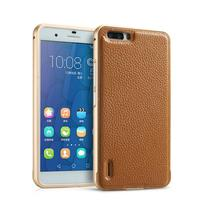 Real Genuine Leather Back Cover Case Aluminum Metal Frame 2 In 1 For Huawei Honor 6