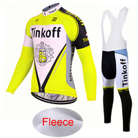 Winter Thermal Fleece 2017 Pro Team Tinkoff Cycling Jersey/ Fluor Yellow Gel Pad Long Sleeve MTB Bike Bicycle Clothing Ciclismo
