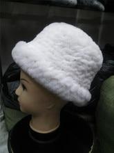 Natural fur hats for women elegance winter warm knitted thicken real rex rabbit fur caps black white gray fur hatH109