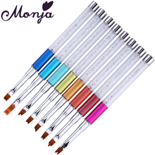 1Pc 8 French Smile Style Nail Art Rhinestone Brush UV Gel Polish Tips Painting Drawing Gradient Change Moom Shaping Forming Pens