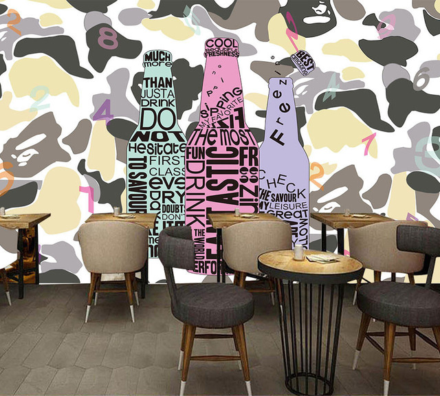 Large Alphabets Scrawl Camouflage Wallpaper Mural For Restaurant Bar Cafe Backaground Photo Wall Paper