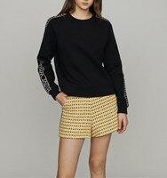 Women Hoodie Round Neck Long Sleeve Letter Patch Sweatshirt