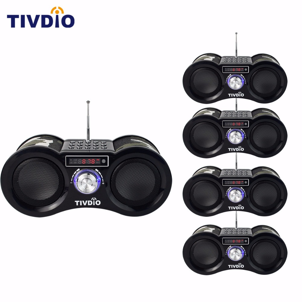 5pcs TIVDIO-113 Stereo FM Radio USB/TF Card With Speaker MP3 Music Player With Remote Control Receiver Radio Camouflage F9203M 2 din car radio mp5 player universal 7 inch hd bt usb tf fm aux input multimedia radio entertainment with rear view camera
