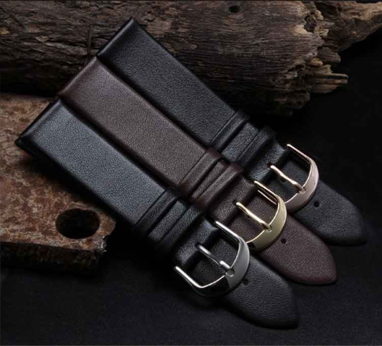 купить Wholesale Male Women Watchbands12mm 14mm 16mm 18mm 19mm 20mm 22mm Watch Band Strap smooth Polished steel buckle clasp Brown по цене 673.18 рублей