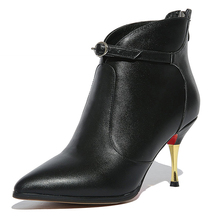 High Quality Genuine Leather High Heels Ankle Boots Women 2016 Fashion Lady's Boots Sexy Pointed Toe Buckle Charm Shoes Woman