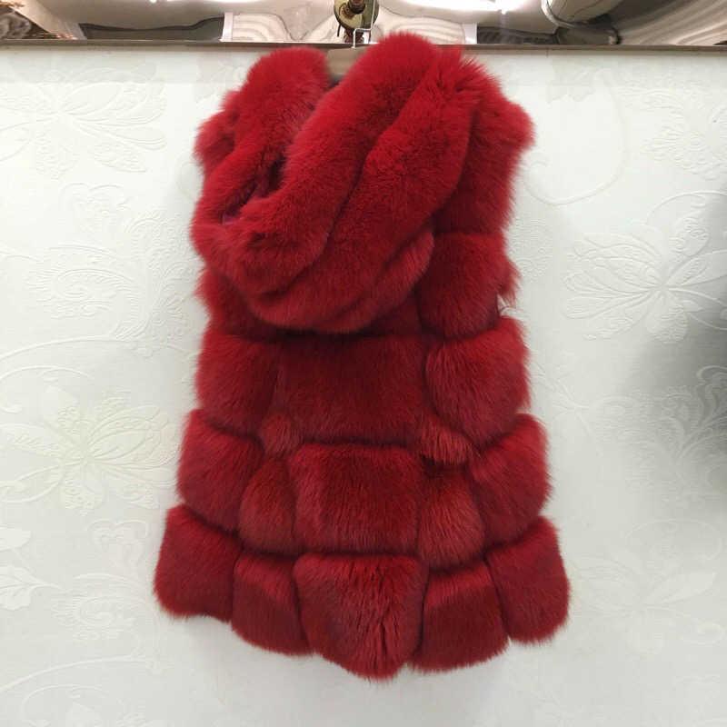 2017 IFUR new chất lượng cao hoang dã fox tóc dài fox fur vest lông vest nhập khẩu fox fur tóc áo ngang thương mại nước ngoài A380-010