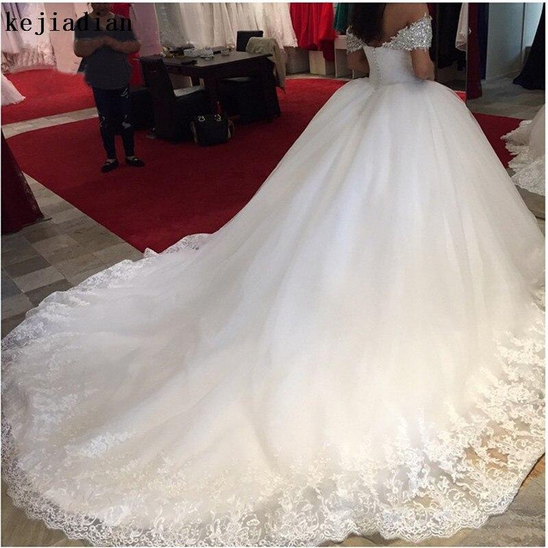Luxury Ball Gown Off Shoulder Beaded Cap Sleeve Sweetheart Wedding Dresses 2019 Long Train Bridal Wedding