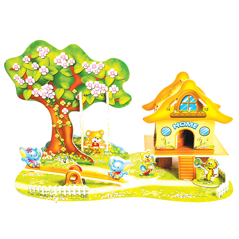 3D Puzzle Safe Foam Model Building Model Building Kits DIY Cartoon Paradise Swing Elephant Tiger Toys For Children