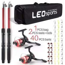2018 New Telescopic Fishing Rod Combo Set 2PCS Spinning  Collapsible Rods 2PCS Spinning Reels with Bag Baits Excellent Fishing Package