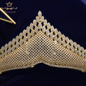 Image 5 - Top Quality Gold Sparkling Luxurious Full Zircon Tiaras Crowns For Brides  Crystal Hairbands Wedding Hair Accessories