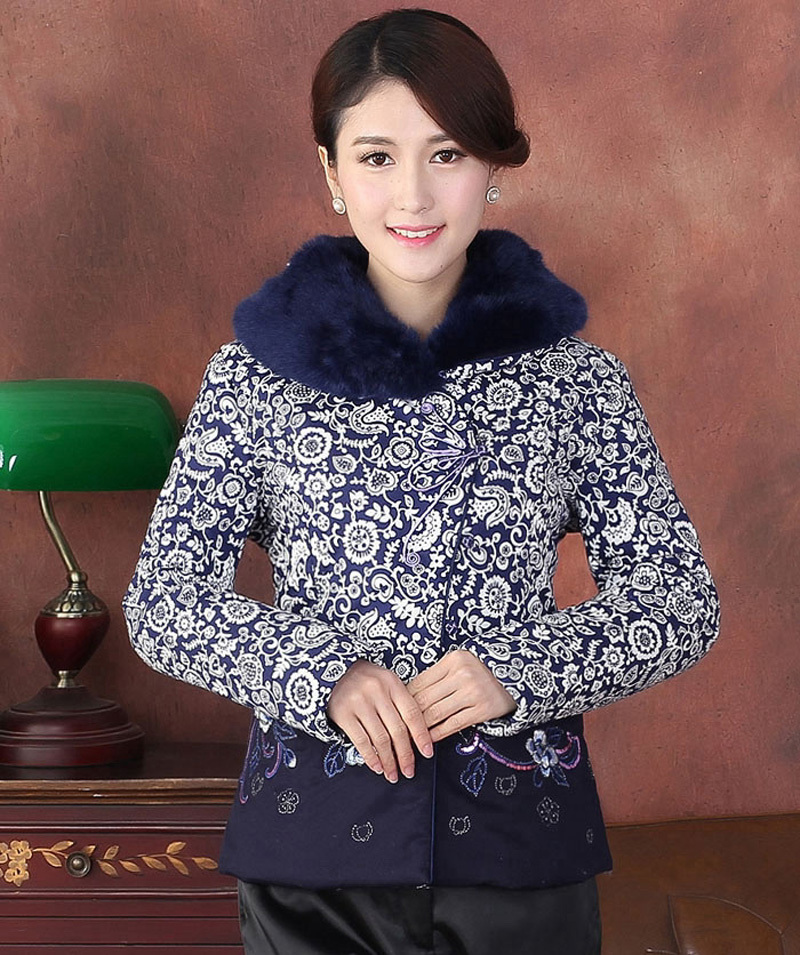 Tf2015013 Vison Femmes De Xl Ouatée Traditionnelle 3xl Xxl Manteau Chinoise Faux 2015 L Fourrure Fleur D'hiver Veste 4xl New Broder tIzw1qHc