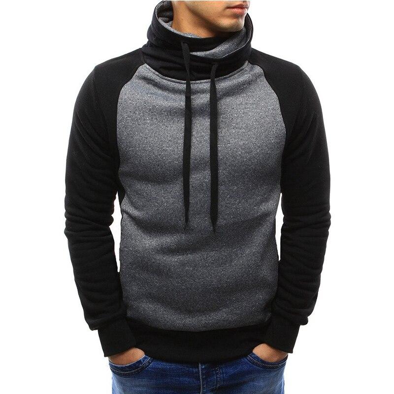 Sudaderas con capucha Casual para hombre 2018 otoño moda marca pulóver Color sólido cuello alto ropa deportiva Sudadera Hombre chándales Moleton 3XL