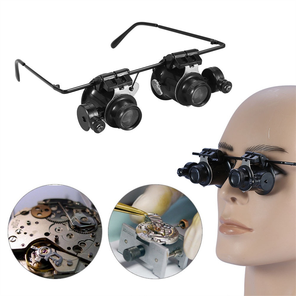 20x led double eye repair magnifier glasses Mini Loupe Lens Magnifying Glas with LED Light Watch Jeweler Microscope#YY jeans con blazer mujer