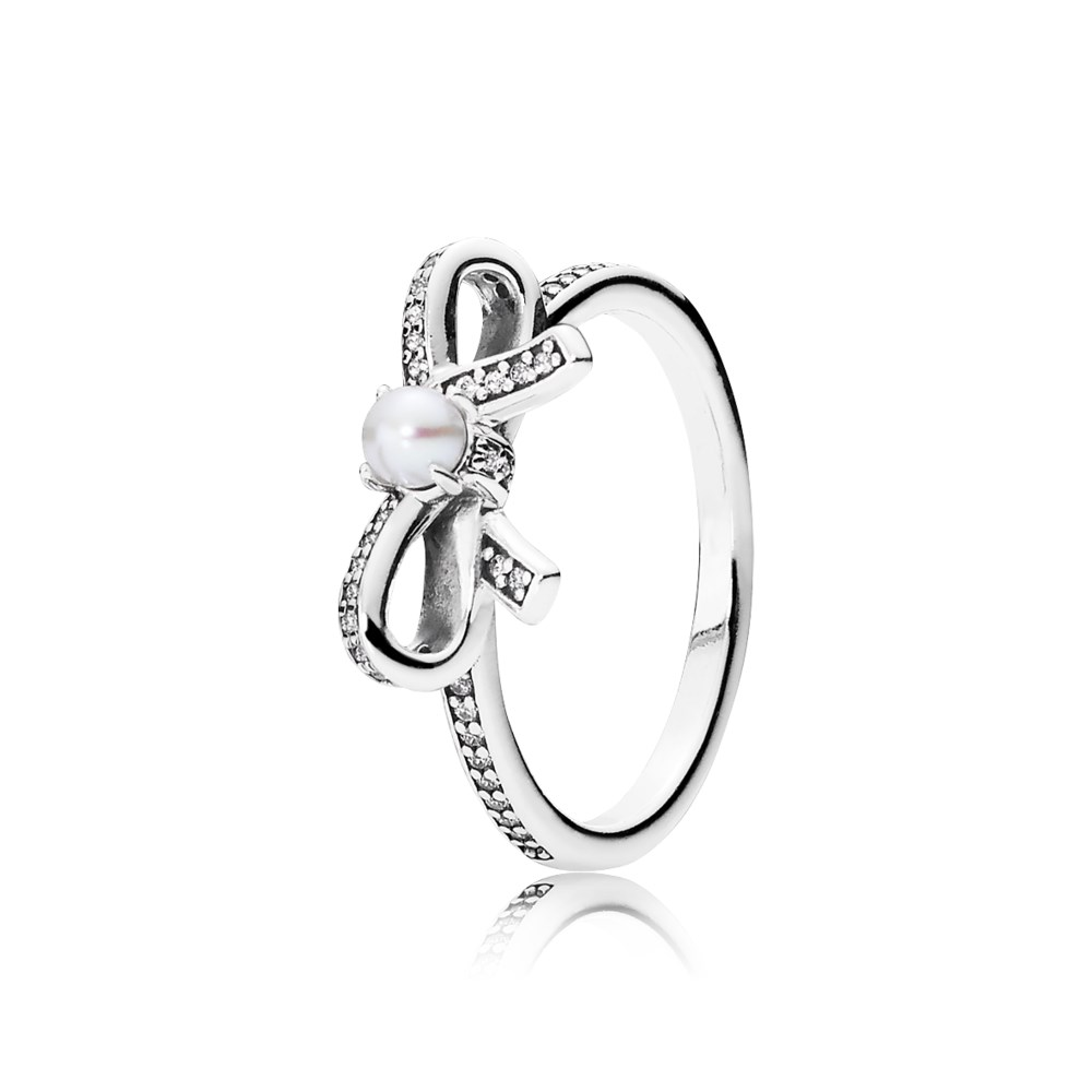 Hot Selling 925 Sterling Silver Delicate Sentiments Bow Rings With White  Pearl Design Ring For Girl